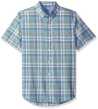 Izod Men's Dockside Chambray Plaid Short Sleeve Shirt (Regular and Slim Fit)