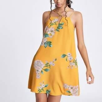 River Island Yellow floral cami slip dress