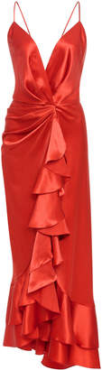 Johanna Ortiz Perfumero Draped Silk-Charmeuse Dress