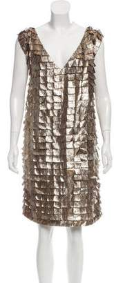 Brian Reyes Metallic V-Neck Dress