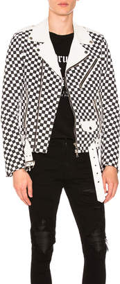 Amiri Check Denim Biker Jacket