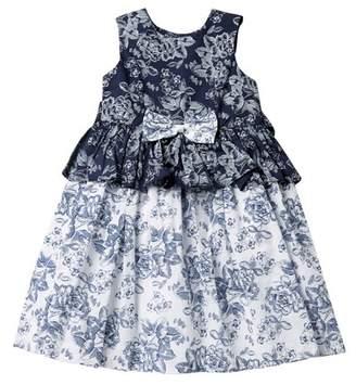 Laura Ashley Blue & White Reverse Print Dress (Toddler & Little Girls)