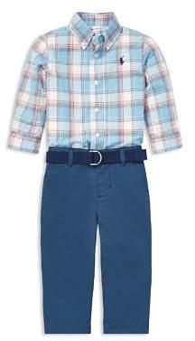 Ralph Lauren Boys' Plaid Shirt & Belted Chinos Set - Baby