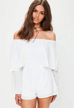 Missguided Tall White Double Layer Romper