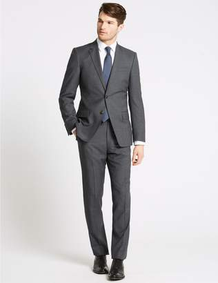 Marks and Spencer Charcoal Textured Slim Fit Wool Jacket