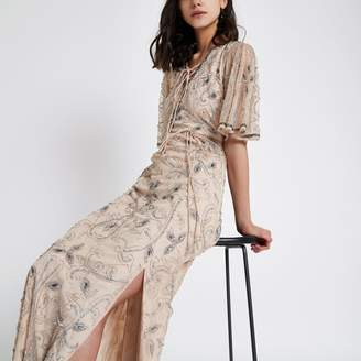 River Island Womens Nude flute sleeve sequin maxi dress