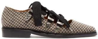 Toga Checked Wool Point Toe Flats - Womens - Grey Multi
