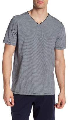 Daniel Buchler Striped Short Sleeve V-Neck Tee