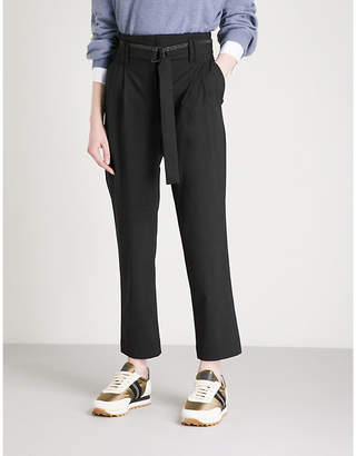 Brunello Cucinelli Bead-embellished belted tapered wool-blend trousers