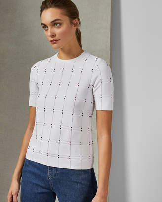 Ted Baker HENIEE Check stitch detail knit top