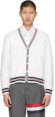 Thom Browne White Cricket Stripe Cardigan