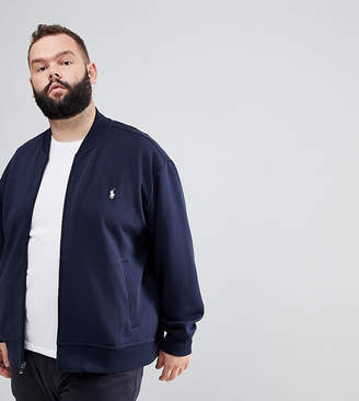 Polo Ralph Lauren Big & Tall Full Zip Sweat Bomber Player Logo In Navy