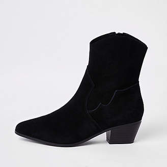 River Island Black suede western ankle boots