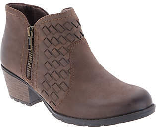 Earth Origins Woven Leather Side-Zip Booties- Alexis