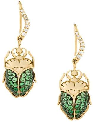 Aurelie Bidermann 18kt gold Scarab diamond earrings