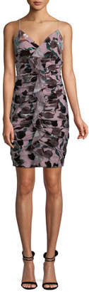Aidan Mattox V-Neck Sleeveless Tulip-Print Velvet Ruched Cocktail Dress