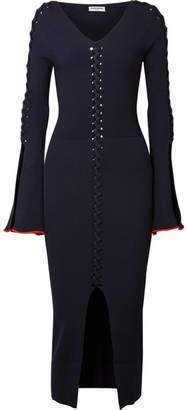 Opening Ceremony Criss Cross Ribbed-knit Midi Dress - Midnight blue