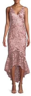 Xscape Evenings Lace Hi-Lo Midi Dress