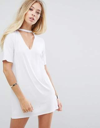Glamorous Relaxed T-Shirt Dress With Choker Neck Detail $34 thestylecure.com