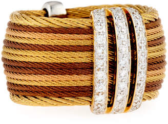 Alor Petra Multi-Row Micro-Cable Pave Diamond Band Ring, Size 7