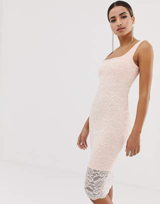 Vesper lace square neck bodycon dress with scallop hem in blush