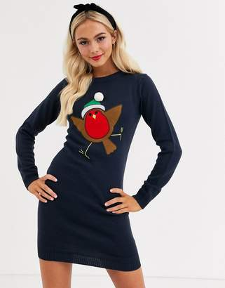 Brave Soul robin christmas sweater with pom pom