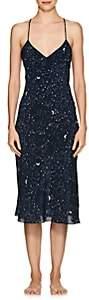 GILDA & PEARL Women's Luna Galaxy-Print Silk Midi-Slip-Navy