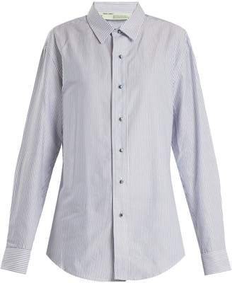 Off-White Point collar striped oxford-cotton shirt
