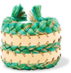 Aurelie Bidermann Copacabana 18-Karat Gold And Braided Cotton Cuff