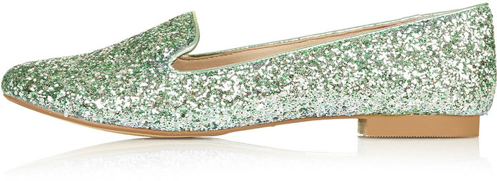Mint glitter slipper shoes. 100% synthetic.