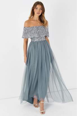 Maya Womens Embellished Bardot Maxi Dress - Blue