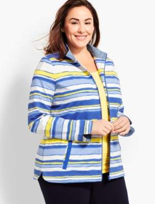 Talbots Plus Size Exclusive Stripe Terry Zip-Up Jacket