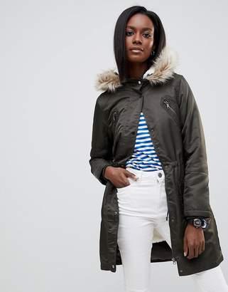 Oasis Faux Fur Trim Longline Parka