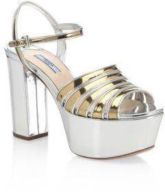 pradaPrada Metallic Leather Platform Sandals