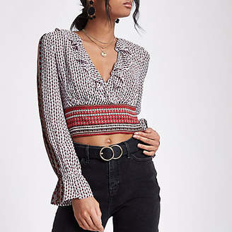River Island Womens Red mixed print wrap crop top