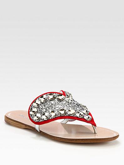 Miu Miu Glitter Crystal-Coated Heart Thong Sandals