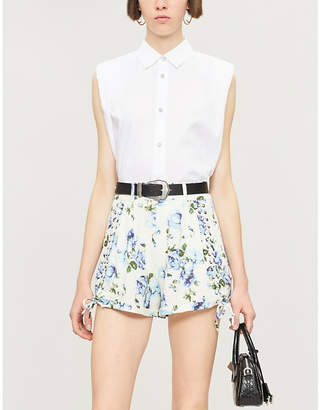 The Kooples Floral-print high-rise linen shorts