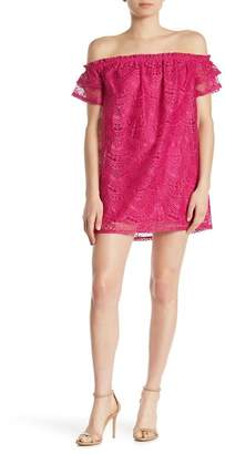 Love, Fire Off-the-Shoulder Lace Shift Dress