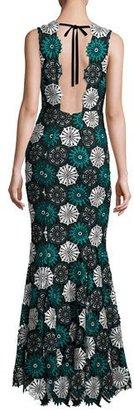 ZAC Zac Posen April Sleeveless Medallion Lace Gown, Blue/Black $1,490 thestylecure.com