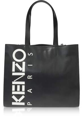 Kenzo Black Leather Sport Tote Bag