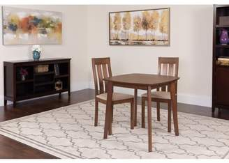Flash Furniture Waterbury 3 Piece Walnut Wood Dining Table Set with Vertical Slat Back Wood Dining Chairs - Padded Seats