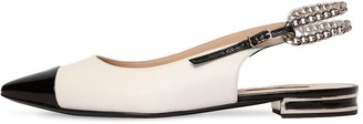Casadei 10MM CHAINED LEATHER SLING BACK FLATS