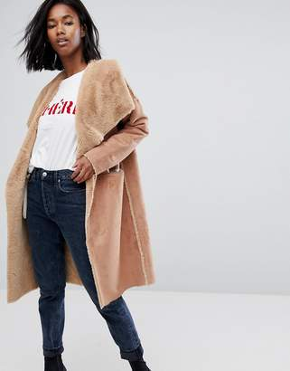 boohoo Reversible Waterfall Coat