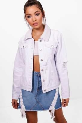 boohoo Nadia Borg Collar Slim Fit Denim Jacket