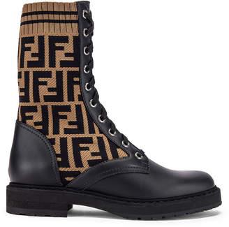 Fendi Logo Combat Boots in Black | FWRD