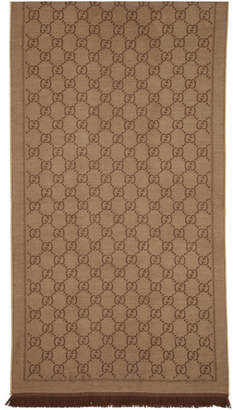 Gucci Tan and Brown Wool Jacquard GG Scarf