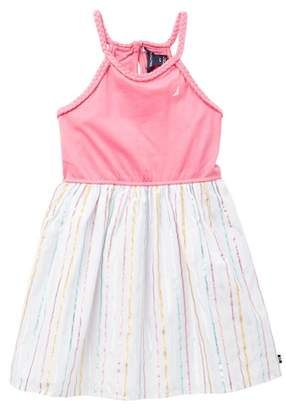 Nautica Metallic Stripe Braided Dress Halter Dress (Toddler Girls)