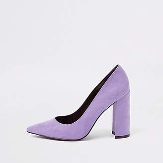 River Island Light purple block heel pumps
