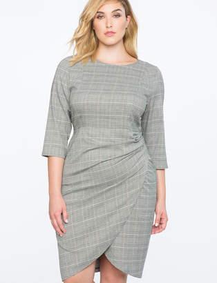 ELOQUII Plaid Dress with Wrap Skirt