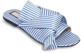 N°21 Stripes Satin Slide Sandals